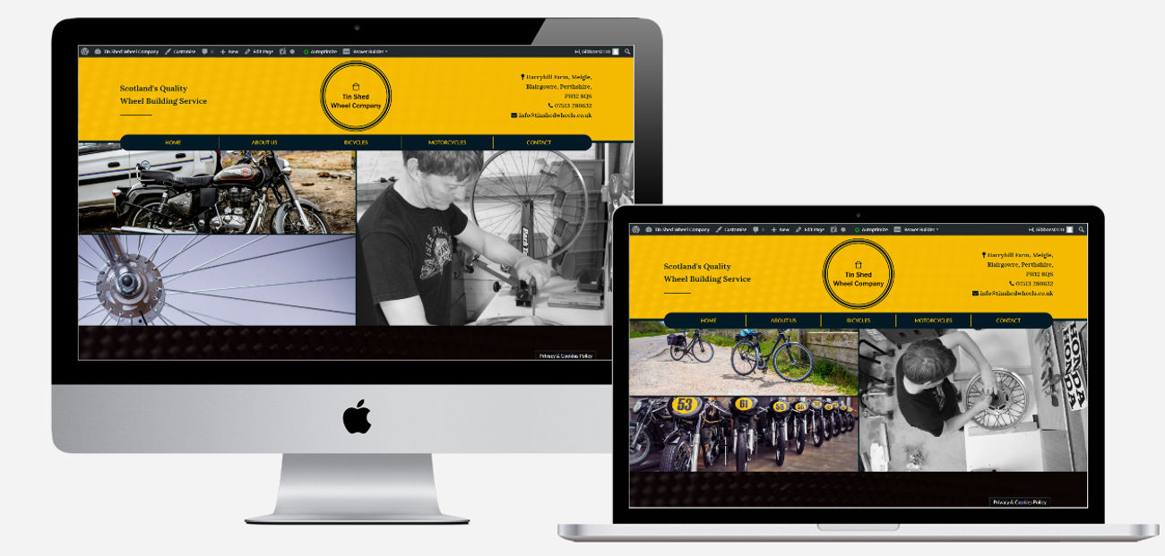 Website Design & Development | TIn Shed Wheels Mock